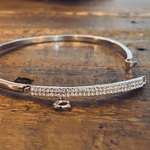 COACH Signature Pave Bar Hinged Bangle in silver